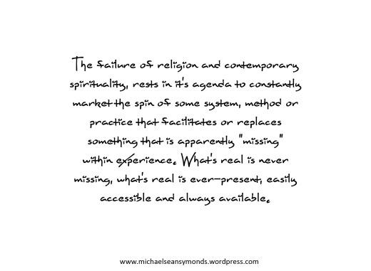 The Failure Of Religion And Contemporary Spirituality. michael sean symonds