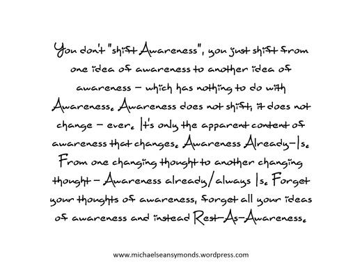 Awareness Does Not Shift. michael sean symonds