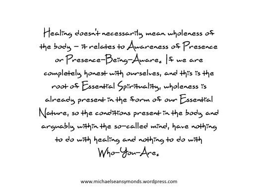 Healing And Wholeness. michael sean symonds